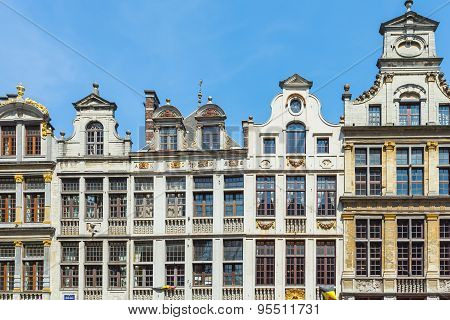 Guildhalls At The Grand Place In Brussels, Belgium