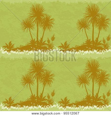 Seamless Landscape, Palms and Plants Silhouettes