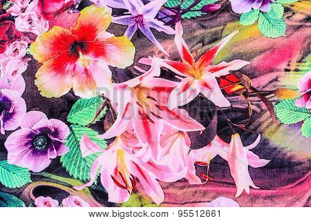 Texture Of Print Fabric Striped Flower