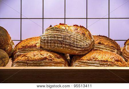 Fresh Hot Bread On The Wooden Shelf