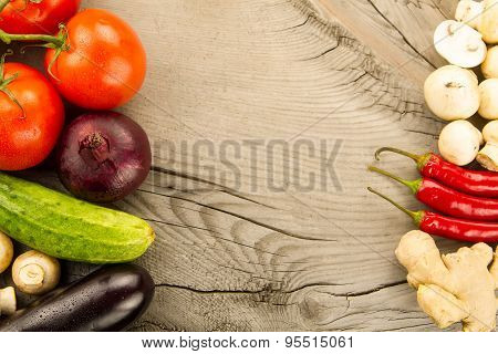 Ripe Fresh Vegetables On Wooden Background. The Icon For Healthy Eating, Diets, Weight Loss.