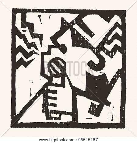 Linocut geometric character- 09