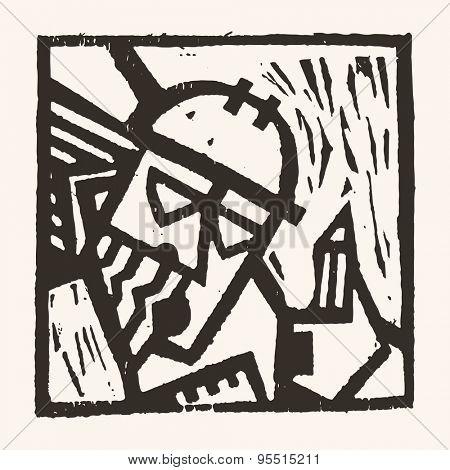 Linocut geometric character- 03