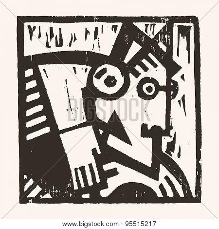 Linocut geometric character- 12