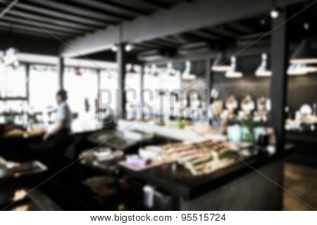 Blurred Buffet Restaurant With Various Of Food