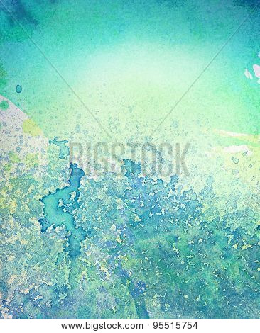 Abstract painted  blue watercolor leak, splash background