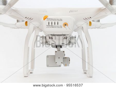 PILSEN CZECH REPUBLIC - JULY 9, 2015: Drone quadrocopter Dji Phantom 3 Professional with high resolution digital camera (High quality 4K). New tool for aerial photo and video.