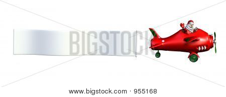 Santa Flying A Plane With Banner