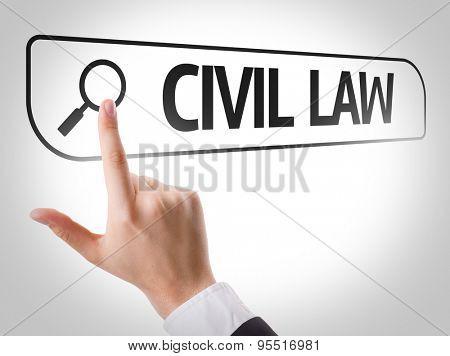 Civil Law written in search bar on virtual screen