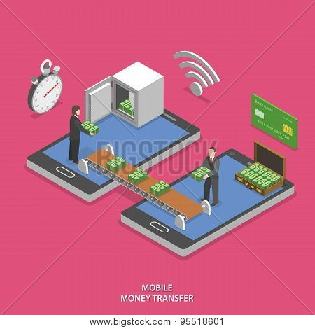 Mobile money transfer flat isometric vector.