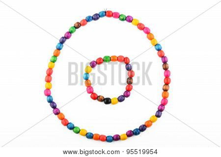Colorful Wooden Beads Necklace And Bracelet Isolated On White