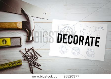 The word decorate and blueprint against white card
