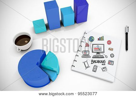 breaking news doodle against white background