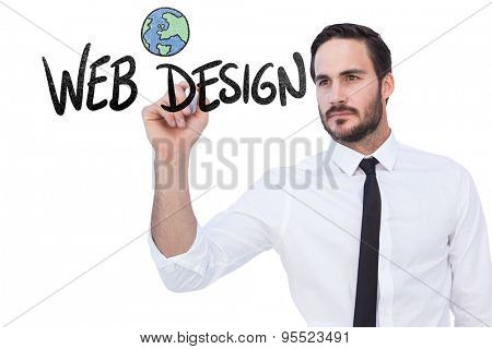 Focused businessman writing with marker against web design doodle