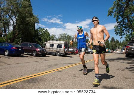 Man Running In Western States 100 Mile Endurance Run