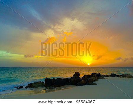 Aruba color sunset