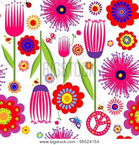 Abstract floral colorful wallpaper with hippie symbolic