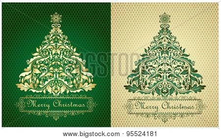 Cards with xmas gold and green trees