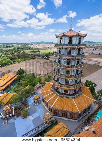 Chinese Style Pagoda In Wat Tham Khao Noi
