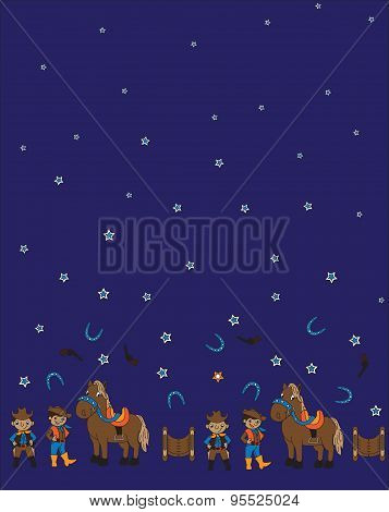 Seamless pattern of cowboy and horse