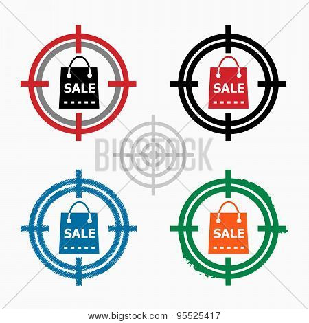 Sale Shopping Bag On Target Icons Background. Crosshair Icon