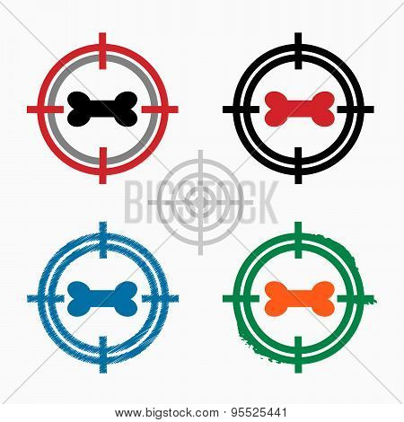 Dog Bone Sign Icon On Target Icons Background