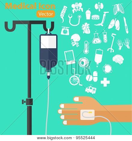 Saline Solution Bag With Pole, Patient 's Hand, Iv Tube, Medical Icon