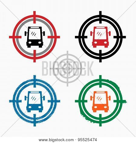 Bus Icon On Target Icons Background