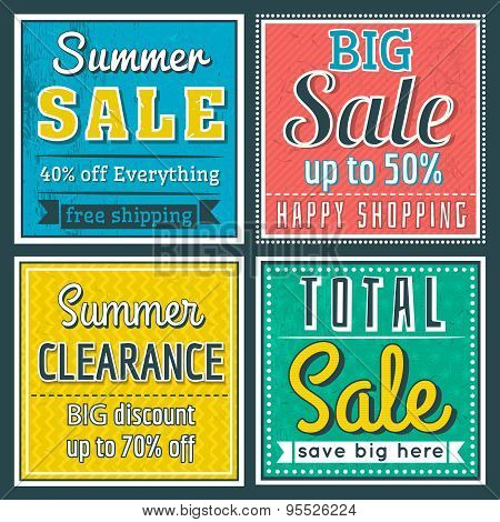 Square Banners With Sale Offer, Vector
