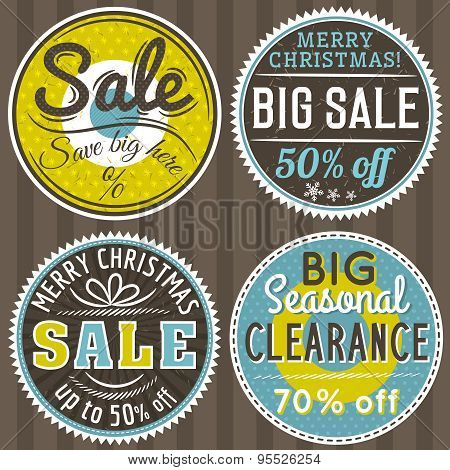 Christmas Round Banners With Sale Offer, Vector