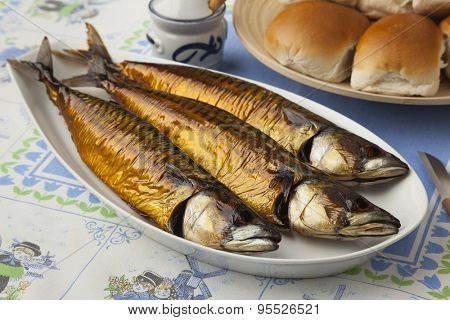 Traditional dutch fresh smoked mackerels and white rolls