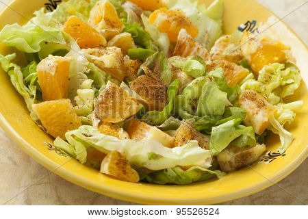 Traditional Moroccan orange salad with cinnamon