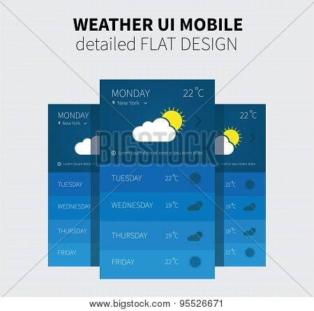 Mobile Flat Design Of Weather Forecast