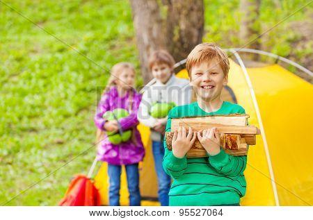 Portrait of smiling boy holding wood for bonfire