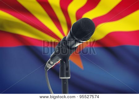 Microphone On Stand With Us State Flag On Background - Arizona