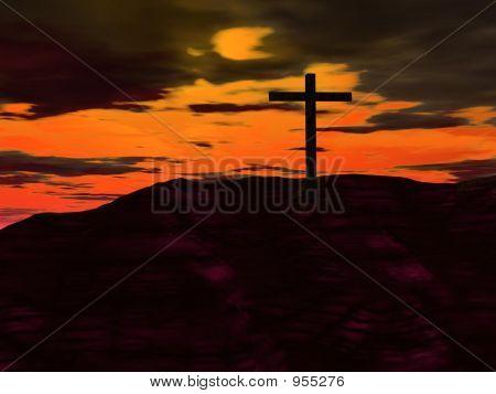 Cross Against Orange Sky