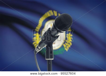 Microphone On Stand With Us State Flag On Background - Kentucky