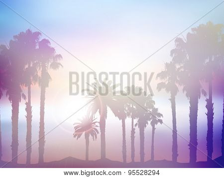 Background of summer palm tree landscape with retro effect