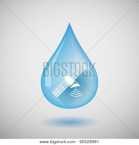 Long Shadow Water Drop Icon With A Satellite