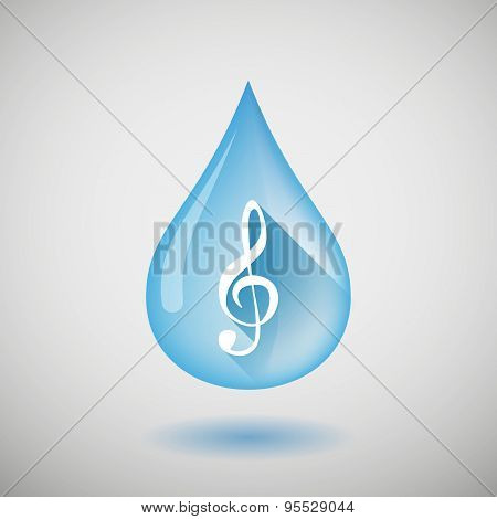 Long Shadow Water Drop Icon With A G Clef