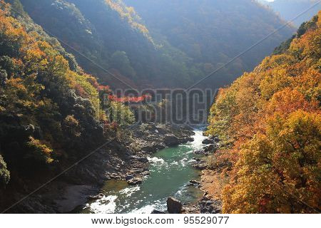 Japan On The Katsura River During The Autumn