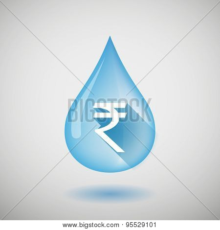 Long Shadow Water Drop Icon With A Rupee Sign