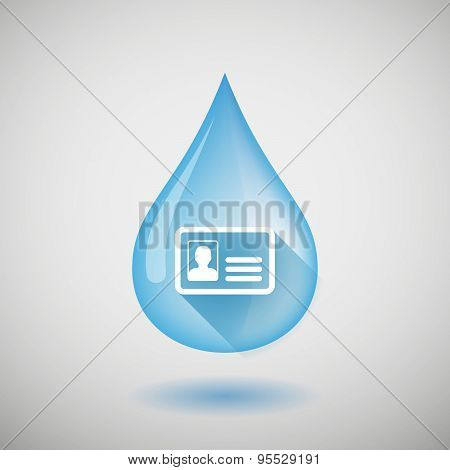 Long Shadow Water Drop Icon With An Id Card