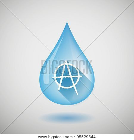 Long Shadow Water Drop Icon With An Anarchy Sign