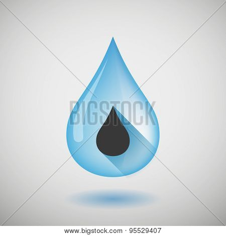 Long Shadow Water Drop Icon With A Fuel Drop