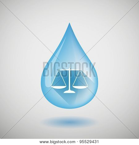 Long Shadow Water Drop Icon With A Justice Weight Scale Sign