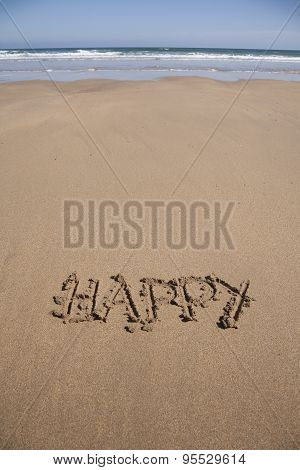 Happy Text In Sand Beach