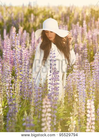 Attractive Young Woman And Meadow