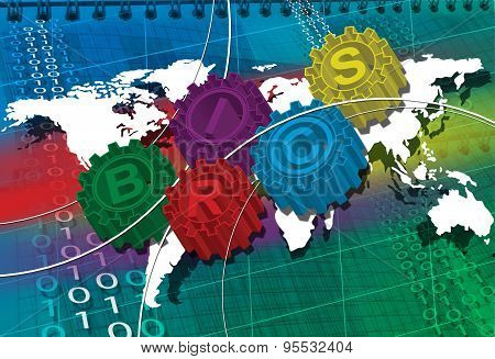 Brics Stylized Symbol Of Gears. World Economy