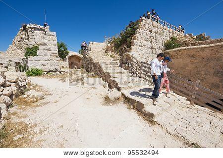 Tourists visit Ajloun fortress in Ajloun, Jordan.